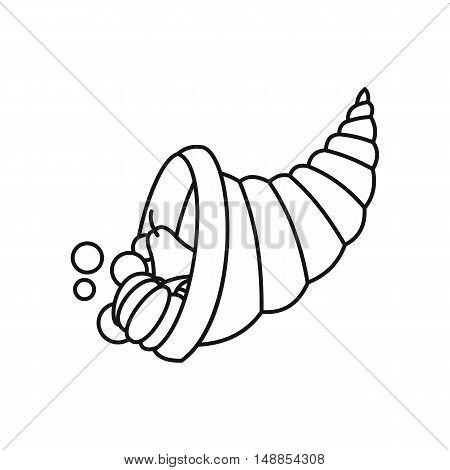 Cornucopia icon in outline style isolated on white background. Prosperity symbol vector illustration
