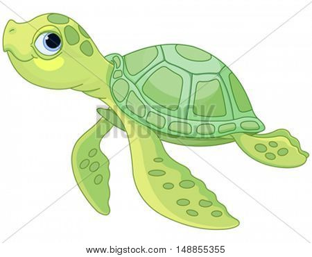 Illustration of very cute sea turtle