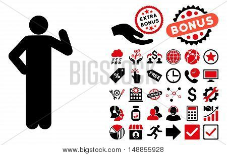 Proposal Pose pictograph with bonus clip art. Vector illustration style is flat iconic bicolor symbols intensive red and black colors white background.