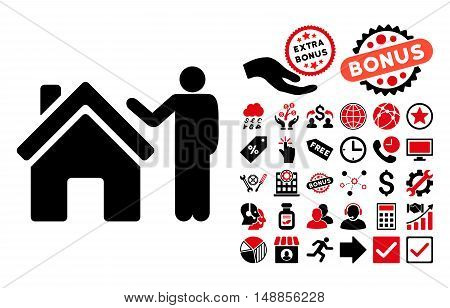 Realty Buyer pictograph with bonus elements. Vector illustration style is flat iconic bicolor symbols intensive red and black colors white background.