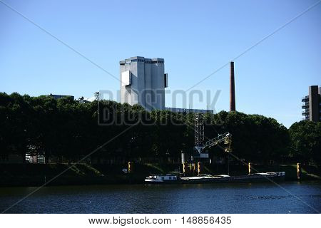 The industrial brewery building on the river Weser in Bremen.