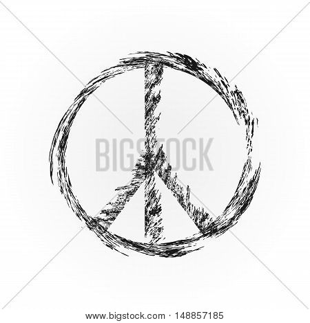 Broken symbol pacifism. The sign of peace. Isolated element.