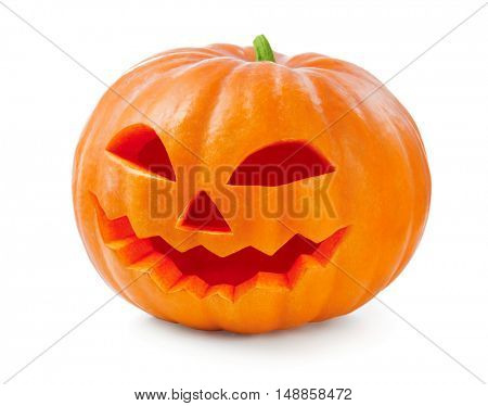 Halloween pumpkin head jack lantern isolated on white background. Carved Halloween Pumpkin closeup, holidays art design, celebration.