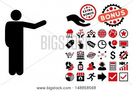 Showing Man icon with bonus design elements. Vector illustration style is flat iconic bicolor symbols, intensive red and black colors, white background.