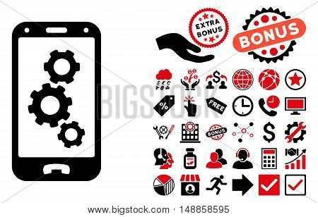 Smartphone Settings icon with bonus pictogram. Vector illustration style is flat iconic bicolor symbols, intensive red and black colors, white background.