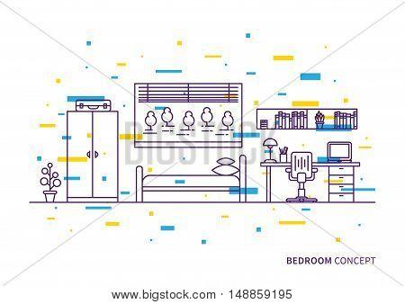 Bedroom interior vector illustration. Bedroom interior line art with colorful decorative elements creative concept.