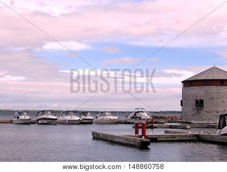 Kingston Canada - May 19 2008: Boats in Confederation basin lake Ontario near mooring.