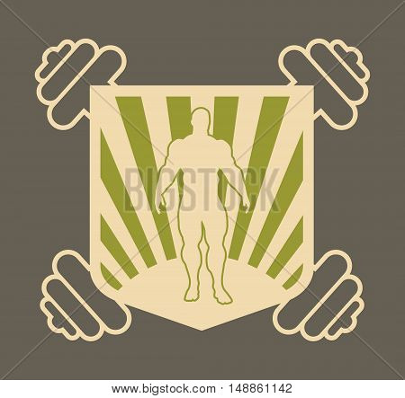 Image relative for gym. Bodybuilding club emblem. Bodybuilder silhouette posing