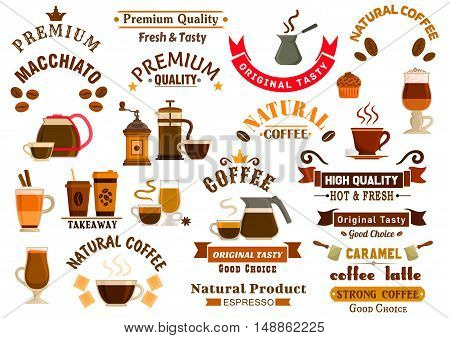 Coffee and desserts icons for cafe signboards. Coffee pitcher, coffee maker, mill, cezve, kettle, french press, chocolate, muffin, biscuit, cake, coffee beans, stars, ribbons. Template for cafeteria menu fast food poster delivery placard