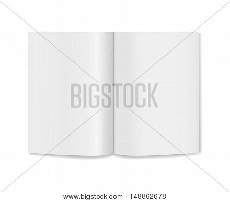 Blank realistic opened book, magazine mockup. Vector illustration