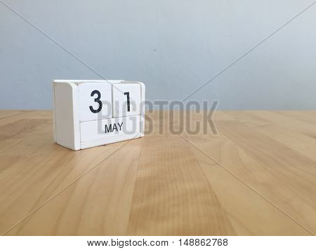 May 31Th.may 31 White Wooden Calendar On Vintage Wood Abstract Background.spring Day.copyspace For T