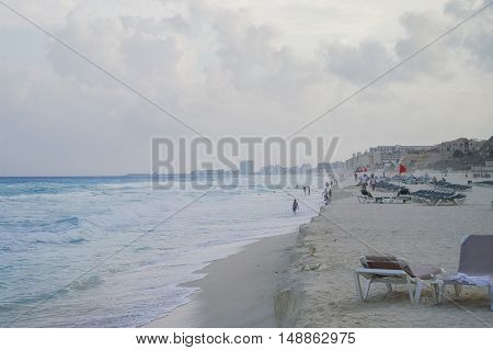 Storm Flag On The Beach. Waves On The Coast Of The Caribbean Sea, Cancun, Riviera Maya, Mexico