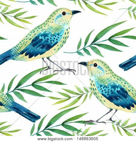 Watercolor seamless pattern with  birds. Vector illustration