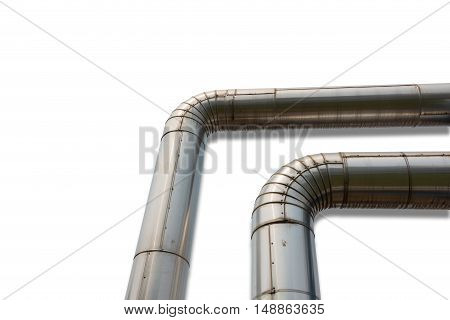 Corner of steam pipeline for industrial, Insulation pipe.