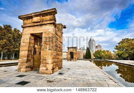 Madrid Spain. Templo de Debod donated by Egypt dedicated to the goddess Isis in Philae built in 2nd century BC