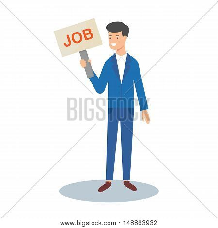 Job vacancy, vector illustration of a businessman with a sign in his hand
