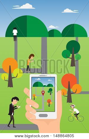 People hand using a smart phone to play an online geolocation game in the park. Play a mobile game using location information. vector illustration.