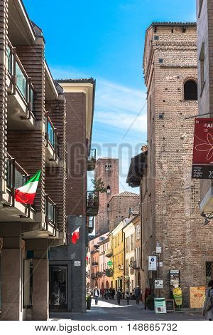 Alba,Italy,Europe - May 3, 2016 : View of Sineo Tower from via Cavour in Alba
