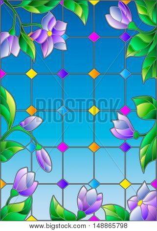Illustration in stained glass style with abstract lilac flowers against the sky