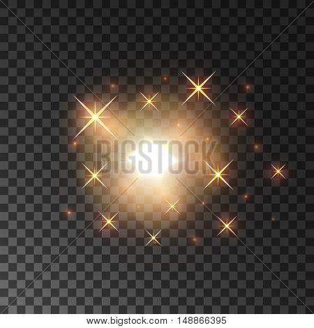 Glittering golden star light sparks. Glowing and sparkling particles dispersing on transparent background
