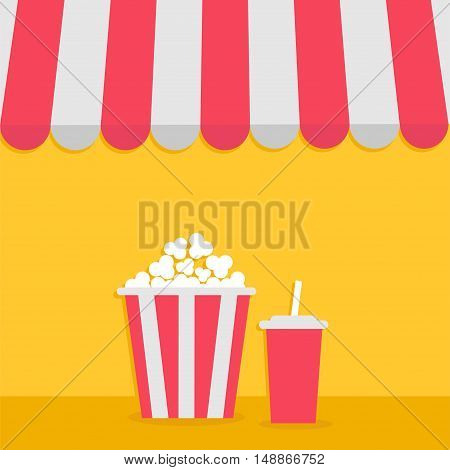 Popcorn and soda with straw. Cinema icon. Striped store awning for shop marketplace cafe restaurant. Red white canopy roof. Flat design. Yellow background. Isolated. Vector illustration