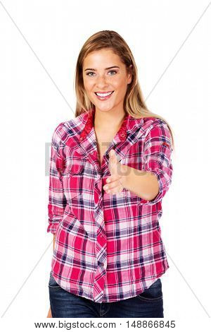 Young smiling woman introducing herself