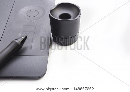 Closeup of modern graphic tablet isolated on white background