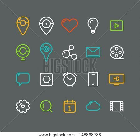 Different simple web pictograms collection. Lineart application icons in color circles