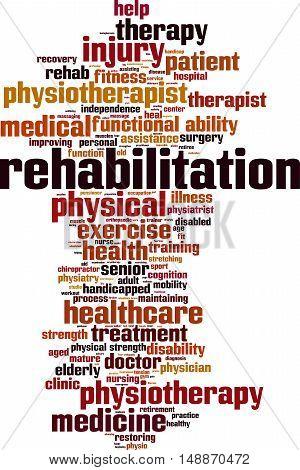 Rehabilitation word cloud concept. Vector illustration on white
