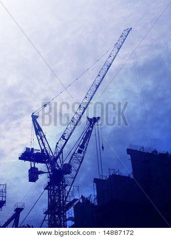 Digital collage illustration of construction industry equipment