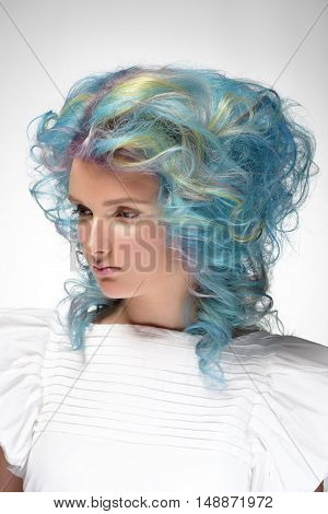 Portrait of a tender girl with dyed hair professional hair colouring
