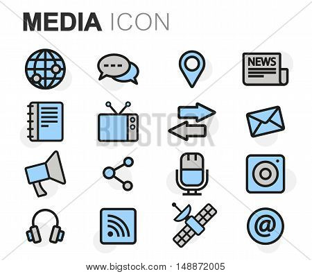 Vector flat line media icons set on white background