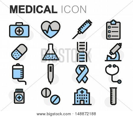 Vector flat line medical icons set on white background