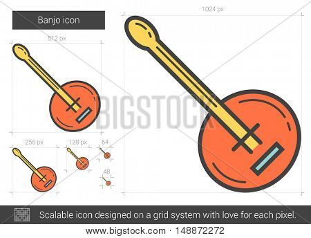 Banjo vector line icon isolated on white background. Banjo line icon for infographic, website or app. Scalable icon designed on a grid system.