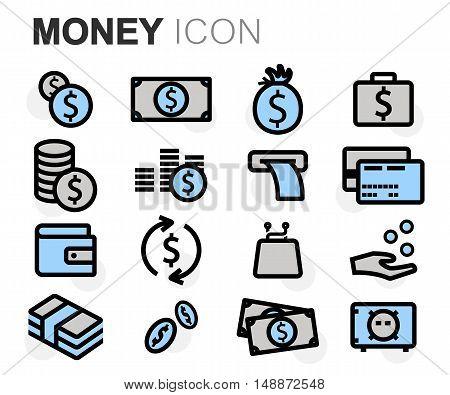 Vector black line money icons set on white background