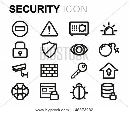 Vector black line security icons set on white background
