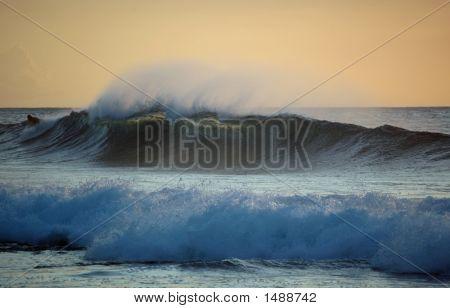 Body Boarding At Sunset