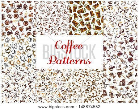 Coffee seamless pattern backgrounds. Wallpapers with vector icons of coffee cup, coffee maker, coffee machine, vintage coffee mill, retro coffee grinder, coffee beans