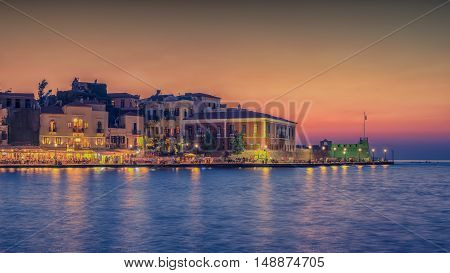 Chania, Crete, Greece: Venetian harbor in the beautiful sunset
