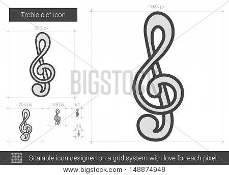 Treble clef vector line icon isolated on white background. Treble clef line icon for infographic, website or app. Scalable icon designed on a grid system.