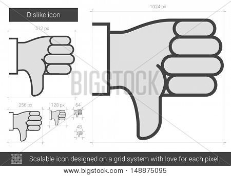 Dislike vector line icon isolated on white background. Dislike line icon for infographic, website or app. Scalable icon designed on a grid system.