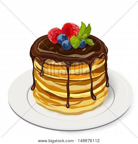 Stack delicious pancakes with chocolate sauce raspberry blueberry berries mint leaf with sugar powder on plate. Vector closeup side square beautiful fresh hot breakfast illustration white background
