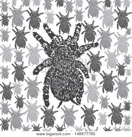 Linocut Tarantula background. Vector Illustrated Tarantula spiders seamless pattern.