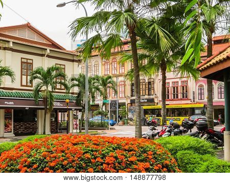SINGAPORE, REPUBLIC OF SINGAPORE - JANUARY 09, 2014: Duxton Hill is the residential area in Singapore with the remained colonial buildings