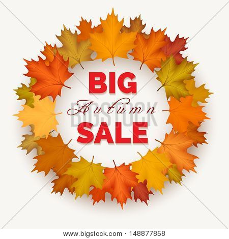 Big autumn sale wreath label. Vector autumn leaves fall border isolated on white background