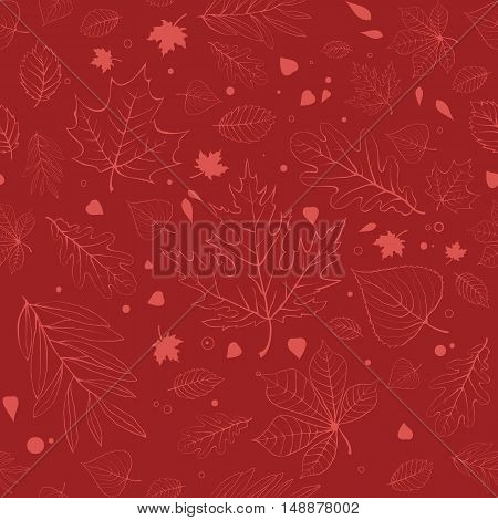 Outline autumn leaves. Red seamless pattern with outline leaves silhouettes.