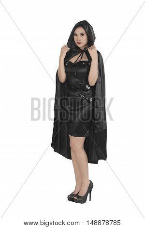 Beautiful Asian Girl Wearing A Black Hooded Cloak