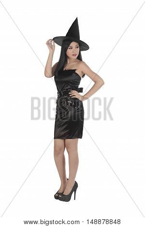 Beautiful Asian Woman Wearing Witch Costume With Hat