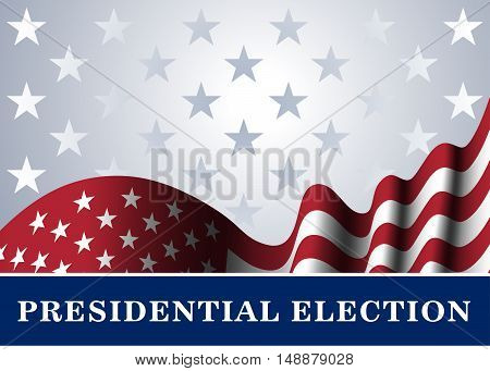 American flag for 4th July Independence Day celebration Presidential Election vote. Patriotic realistic graphics. National design. Symbol the United State of America. Vector illustration