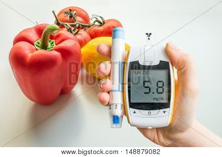 Diabetic Diet, Diabetes And Healthy Eating Concept. Glucometer A